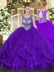 Exquisite Beading and Ruffles Quinceanera Dress Eggplant Purple Lace Up Sleeveless Floor Length