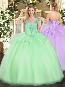 Super Apple Green Tulle Lace Up V-neck Sleeveless Floor Length Quinceanera Gowns Beading