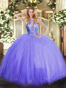 Sleeveless Floor Length Beading Lace Up 15 Quinceanera Dress with Lavender