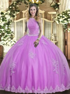 Shining High-neck Sleeveless Tulle Vestidos de Quinceanera Beading and Appliques Lace Up