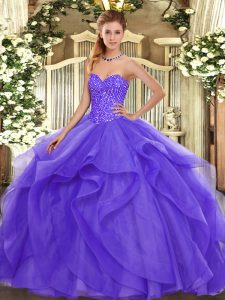 Lavender Tulle Lace Up Sweetheart Sleeveless Floor Length Vestidos de Quinceanera Beading and Ruffles