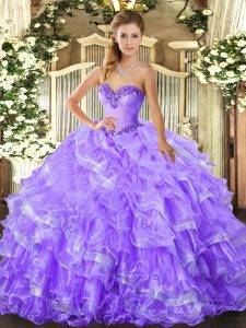 Most Popular Lavender Sweetheart Lace Up Beading and Ruffled Layers Sweet 16 Dresses Sleeveless