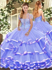 Strapless Sleeveless Lace Up Sweet 16 Dress Lavender Organza