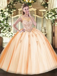 Fitting Sleeveless Tulle Floor Length Zipper Vestidos de Quinceanera in Peach with Beading and Appliques