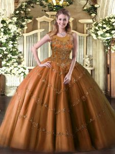 Luxury Rust Red Sleeveless Floor Length Beading and Appliques Zipper Quinceanera Dress