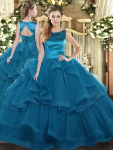 Graceful Floor Length Lace Up 15th Birthday Dress Teal for Military Ball and Sweet 16 and Quinceanera with Ruffles