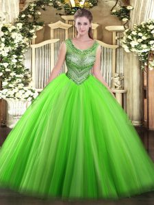 Fantastic Ball Gowns Tulle Scoop Sleeveless Beading Floor Length Lace Up Sweet 16 Dresses