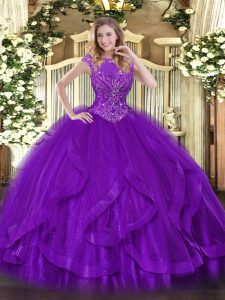 High End Purple Scoop Zipper Beading and Ruffles Vestidos de Quinceanera Sleeveless