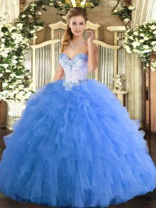 Baby Blue Sleeveless Beading and Ruffles Floor Length Sweet 16 Dress