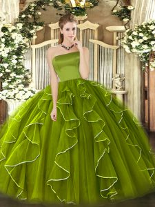 Glittering Ball Gowns Quinceanera Gown Olive Green Strapless Tulle Sleeveless Floor Length Zipper