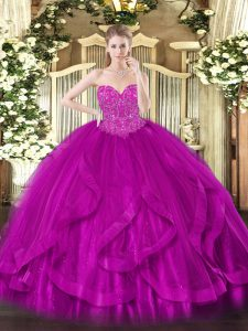 Fuchsia Tulle Lace Up Sweetheart Sleeveless Floor Length Sweet 16 Quinceanera Dress Beading and Ruffles