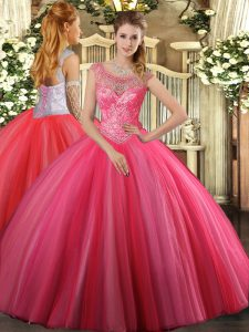 Smart Coral Red Sleeveless Tulle Lace Up Sweet 16 Dress for Sweet 16 and Quinceanera