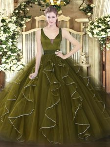 Sleeveless Tulle Floor Length Zipper Sweet 16 Dress in Olive Green with Beading and Ruffles