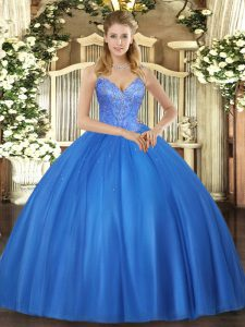 V-neck Sleeveless Quinceanera Gown Floor Length Beading Blue Tulle