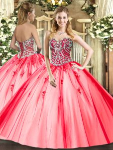 Custom Made Coral Red Ball Gowns Beading and Appliques 15 Quinceanera Dress Lace Up Tulle Sleeveless Floor Length