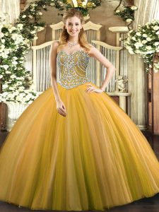 New Style Ball Gowns Quinceanera Dresses Gold Sweetheart Tulle Sleeveless Floor Length Lace Up