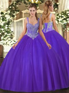 Hot Selling V-neck Sleeveless Tulle 15 Quinceanera Dress Beading Lace Up