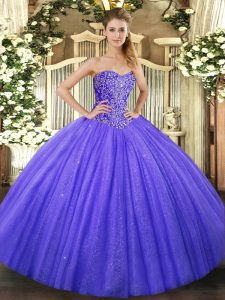 Sweetheart Sleeveless Ball Gown Prom Dress Floor Length Beading Blue Tulle