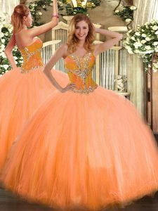 Sleeveless Tulle Floor Length Lace Up Quinceanera Dresses in Orange with Beading