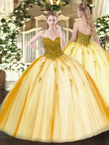 On Sale Gold Sweetheart Neckline Beading Quinceanera Gown Sleeveless Lace Up
