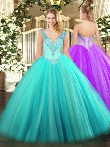 Fashion Sleeveless Beading Lace Up 15th Birthday Dress