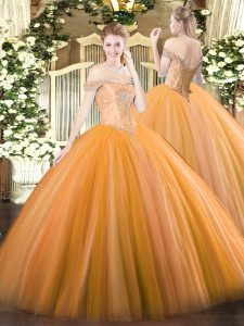 Dynamic Orange Sleeveless Tulle Lace Up Sweet 16 Dress for Military Ball and Sweet 16 and Quinceanera