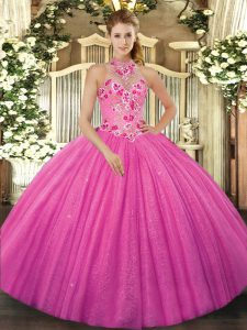 Top Selling Hot Pink Sleeveless Floor Length Beading and Embroidery Lace Up Quince Ball Gowns