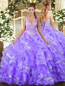 Comfortable Lavender Organza Lace Up Straps Sleeveless Floor Length 15th Birthday Dress Beading and Ruffled Layers