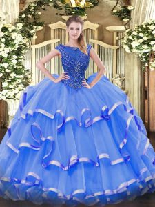 High Class Ball Gowns Quinceanera Dress Blue Scoop Organza Sleeveless Floor Length Zipper