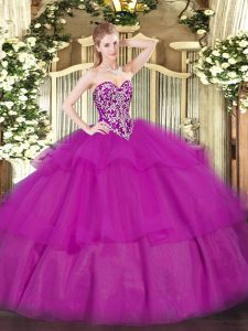 Flare Fuchsia Lace Up Quince Ball Gowns Beading and Ruffled Layers Sleeveless Floor Length