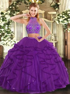 Latest Halter Top Sleeveless Criss Cross Vestidos de Quinceanera Purple Tulle