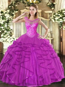 Fantastic Floor Length Ball Gowns Sleeveless Fuchsia Sweet 16 Quinceanera Dress Lace Up