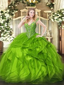 Flare Sleeveless Organza Lace Up Quinceanera Dresses for Military Ball and Sweet 16 and Quinceanera