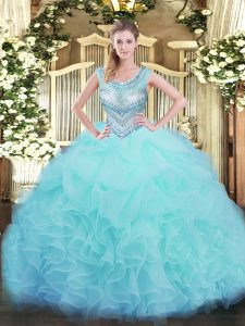 Unique Floor Length Aqua Blue Quinceanera Dress Scoop Sleeveless Lace Up