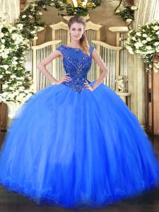 Blue Tulle Zipper Scoop Cap Sleeves Floor Length Vestidos de Quinceanera Beading
