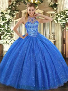 Blue Halter Top Neckline Beading and Embroidery Quinceanera Dresses Sleeveless Lace Up