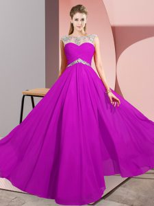 Fuchsia Chiffon Clasp Handle Prom Gown Sleeveless Floor Length Beading
