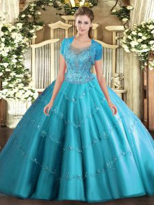 Modern Aqua Blue Scoop Clasp Handle Beading and Appliques 15th Birthday Dress Sleeveless