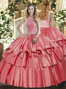 Decent Sleeveless Beading and Ruffled Layers Lace Up 15th Birthday Dress