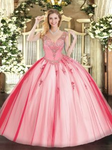 Most Popular Floor Length Lace Up 15 Quinceanera Dress Coral Red for Military Ball and Sweet 16 and Quinceanera with Beading