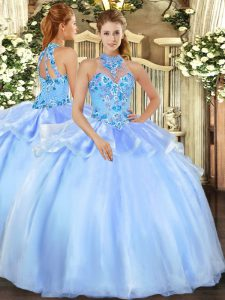Sleeveless Floor Length Embroidery Lace Up Sweet 16 Dresses with Baby Blue