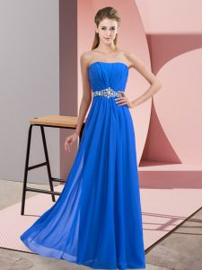Gorgeous Blue Empire Chiffon Strapless Sleeveless Beading Floor Length Lace Up Prom Party Dress