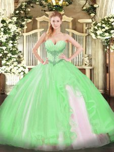 Gorgeous Tulle Sleeveless Floor Length Quince Ball Gowns and Beading and Ruffles