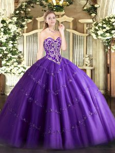 Purple Zipper Quince Ball Gowns Beading and Appliques Sleeveless Floor Length