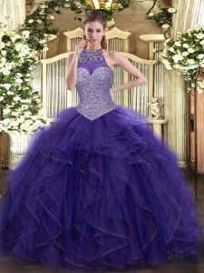 Floor Length Purple Quinceanera Gown Tulle Sleeveless Beading and Ruffled Layers