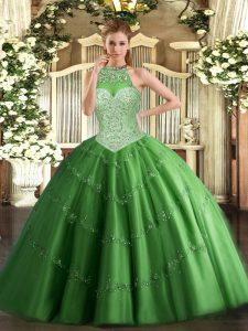 Delicate Sleeveless Beading and Appliques Lace Up Sweet 16 Quinceanera Dress