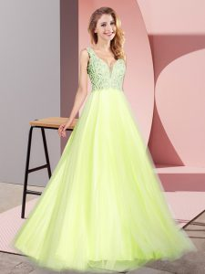 A-line Light Yellow V-neck Tulle Sleeveless Floor Length Zipper