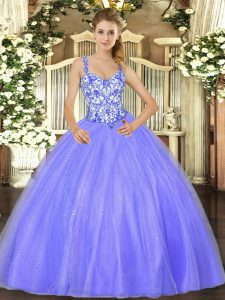 Delicate Organza Sleeveless Floor Length Sweet 16 Quinceanera Dress and Beading