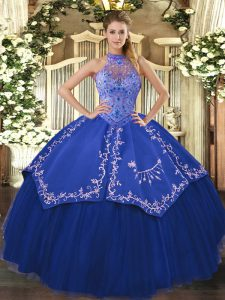 Dramatic Blue Ball Gowns Halter Top Sleeveless Tulle Floor Length Lace Up Beading and Embroidery Sweet 16 Dress