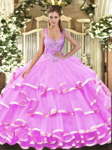 Elegant Lilac Organza Lace Up Straps Sleeveless Floor Length Quinceanera Gown Beading and Ruffled Layers